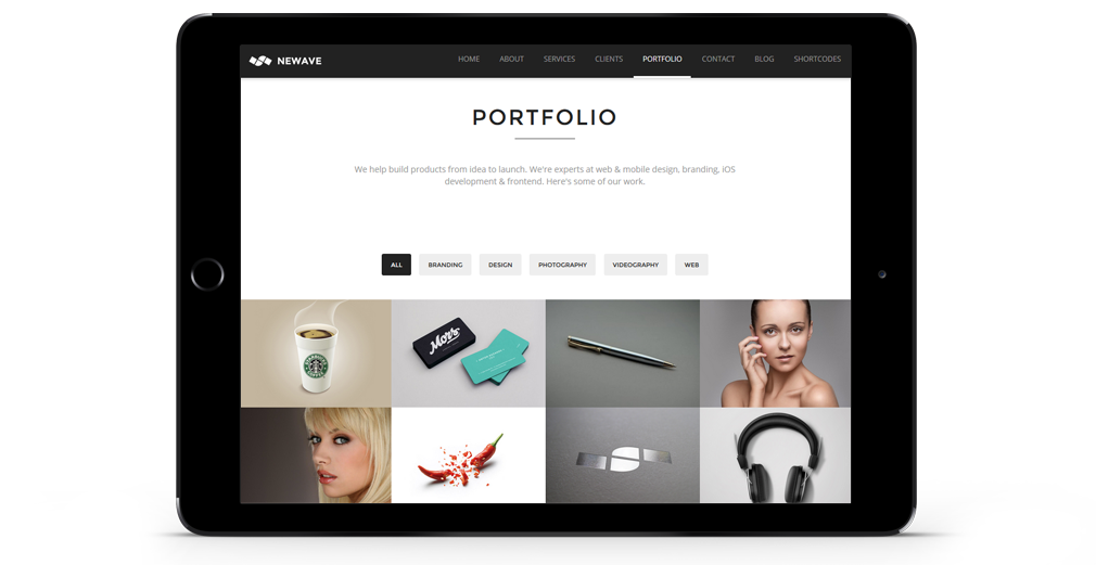 Newave WordPress Theme Responsive Tablet